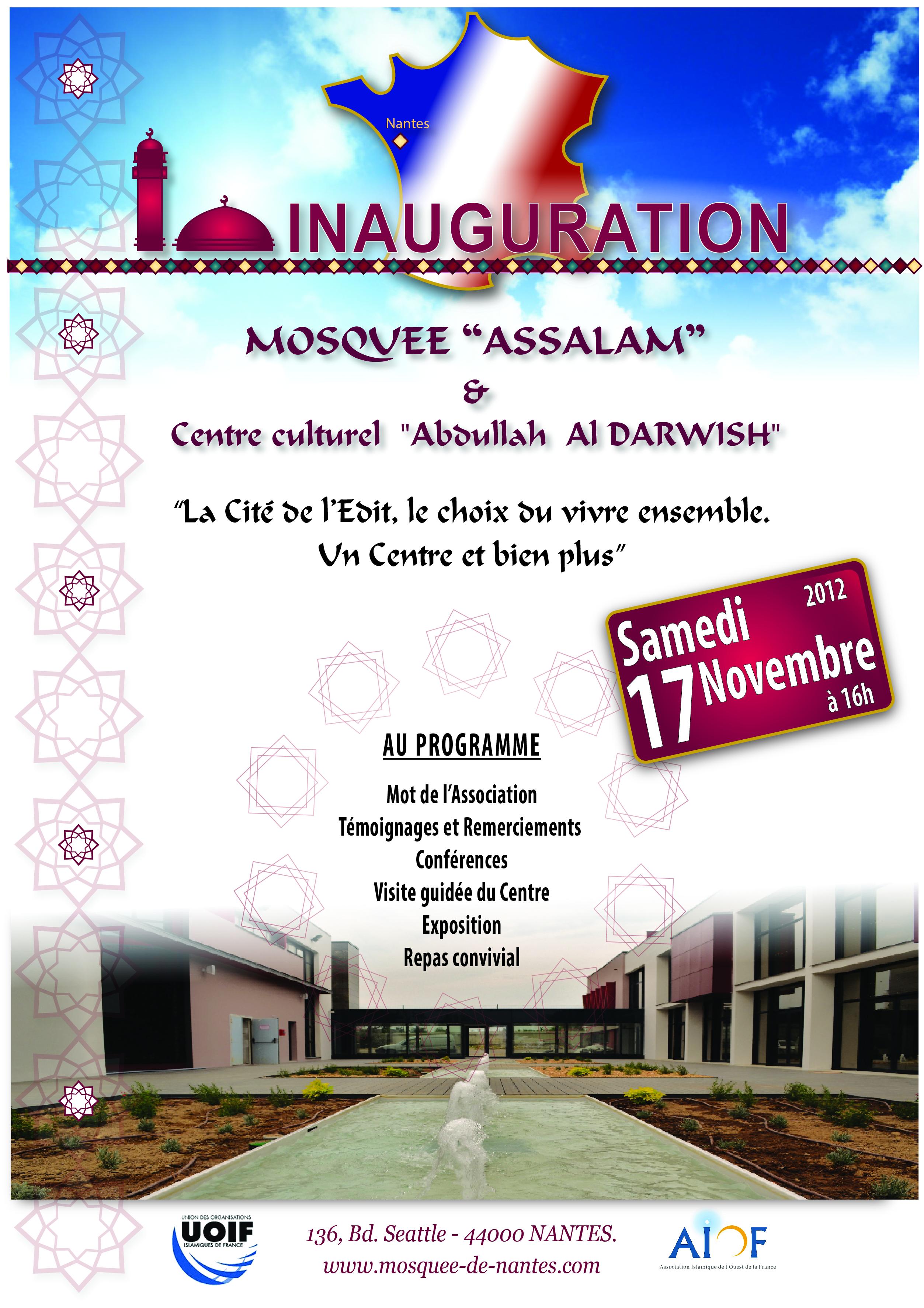 affiche inauguration 16h association islamique de l 39 ouest de la france. Black Bedroom Furniture Sets. Home Design Ideas